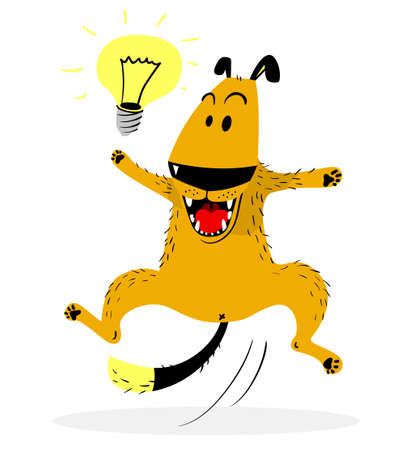 word of mouth: Laughing jumping dog. Idea lamp. Cute dog enjoys the fact that she had the idea. Good mood and emotion. Vector illustration with cartoon animal character Illustration