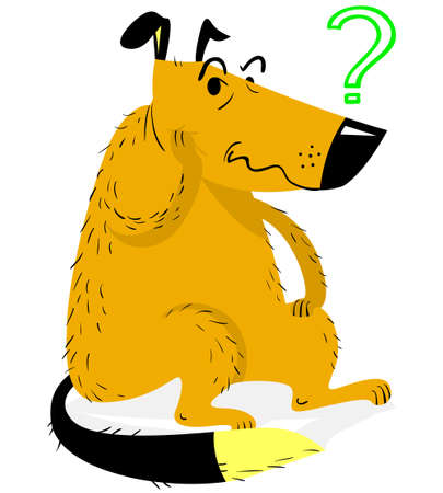 Thinking dog. Thinking funny dog sitting and asking a question. Vector illustration with cartoon confused pet.