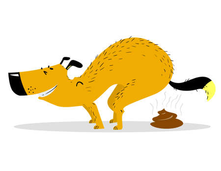 Defecating dog. Cute smiling pooping pet. Vector illustration with cartoon cheerful dog doing its toilet