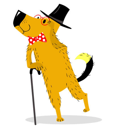 A dog dressed as a gentleman ? pince-nez and walking stick. Vintage suit and accessories. Vector illustration with cartoon dog and retro objects Illustration