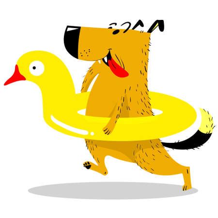 Cute dog in a swimming circle in the form of a duck. Dog like human. Dog on vacation near the water. Vector illustration with cartoon style