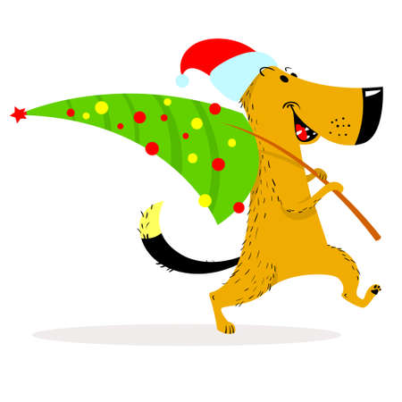 New Year dog character. A cheerful dog carries a decorated Christmas tree. Cartoon vector illustration with cute pet in winter seasonal costume