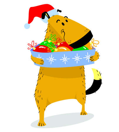 costume ball: Christmas dog character. Cute pet in santas hat with box of bright decoration balls. Cartoon vector illustration with doggy with winter seasonal objects