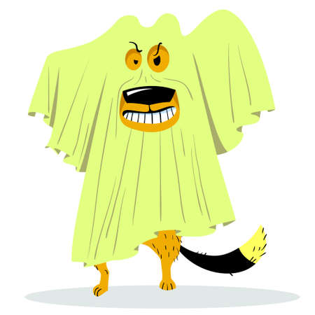 Halloween dog character in ghost costume. Dog under the sheet in the form of a ghost. Cartoon vector illustration with funny spook Illustration