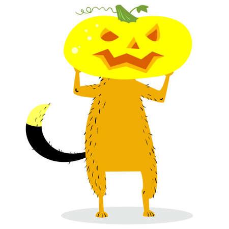 Halloween dog character with a pumpkin head. Cartoon vector illustration for autumn season avatars with pet Illustration