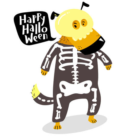 halloween dog character in skeleton costume with skull and bones happy halloween lettering in speech