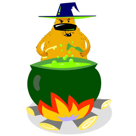 Halloween dog character in witch hat with boiling cauldron. Cartoon vector illustration with cute evil spooky pet.