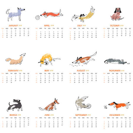 Monthly calendar 2018 with cute dogs - playng, sniffing, disk dogs, standing, jumping, laying, standing pets . Vector illustration for planner design, cards, printing, wallpaper with animals