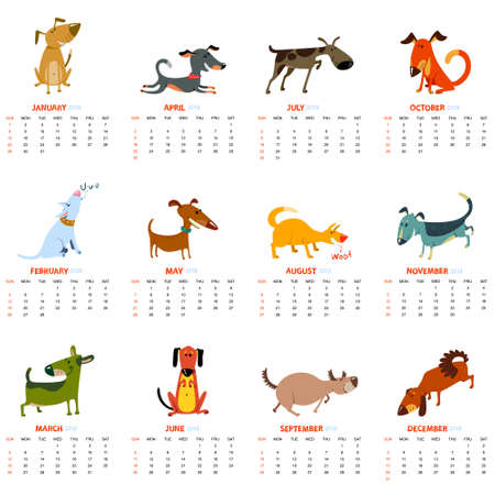 Monthly calendar 2018 with cute dogs - playng, sniffing, barking, standing, smiling, laying, standing pets . Vector illustration for planner design, cards, printing, wallpaper with animals Illustration