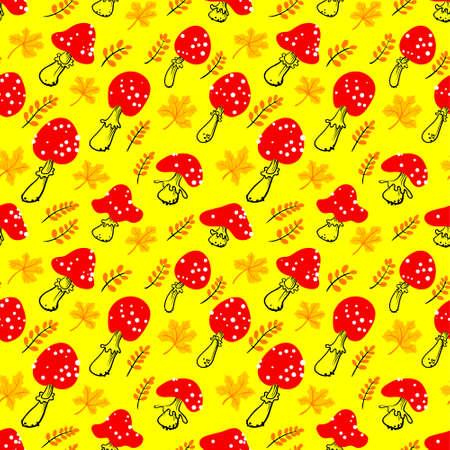 Amanita seamless pattern. Illustration