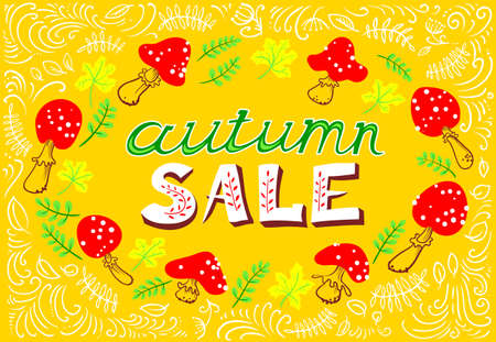 Autumn wreath with amanita. Mushroom frame with bright marple leaves. Fall season vector illustration. Autumn sale lettering. Shopping banner Illustration
