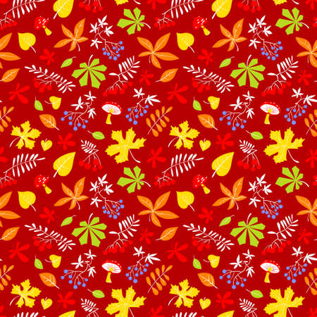 Fall season floral seamless pattern. Autumn background with bright leaves, rowan and grape berries, amanita mushrooms. Vector illustration for textile, seasonal posters and cards
