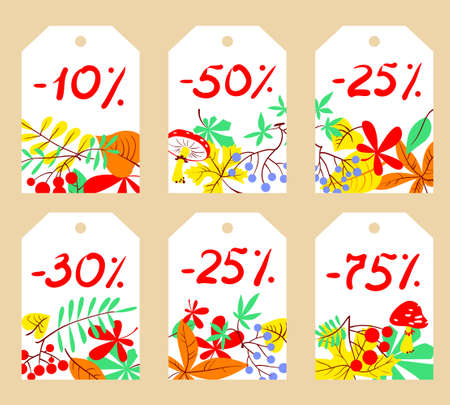 Vector set with autumn sale labels.  Collection of six fall discount cardboard cards. Best offer illustration. Illustration