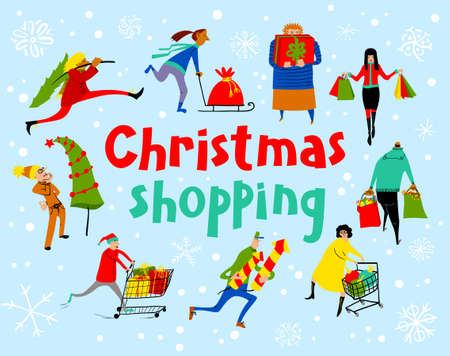 new opportunity: Shopping people set. Christmas sale lettering. Group of people in rush time in winter holidays eve. Vector card with funny man and woman with shopping carts and bags with gifts. Seasonal lifestyle illustration for placards and stickers, backgrounds and labels Illustration