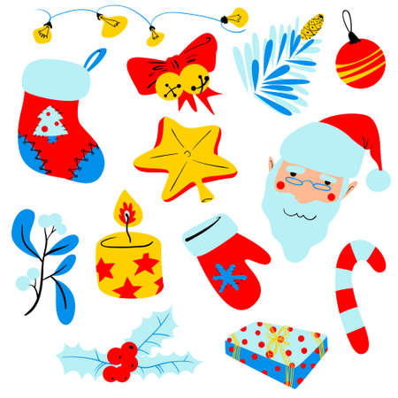 mitten: Christmas set with decoration objects. Isolated design elements for winter holidays theme. Vector illustration in cartoon style