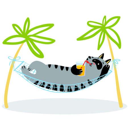 Summer holidays. Cat lying in hammock. Feline funny character with drink. Vector illustration
