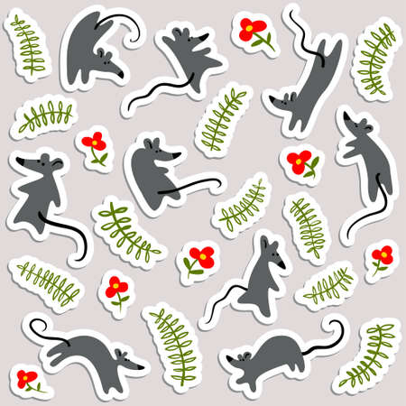 Stickers with mouses and flowers. Labels with cute rats and floral elements. Vector illustration with animals  in minimalistic flat style