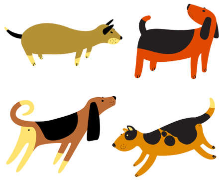 Cute dogs seamless pattern. Background with pets character in doodle simple style. For fabric, textile, wrapping, other surfaces.