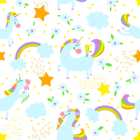 Magic unicorns background. Çizim