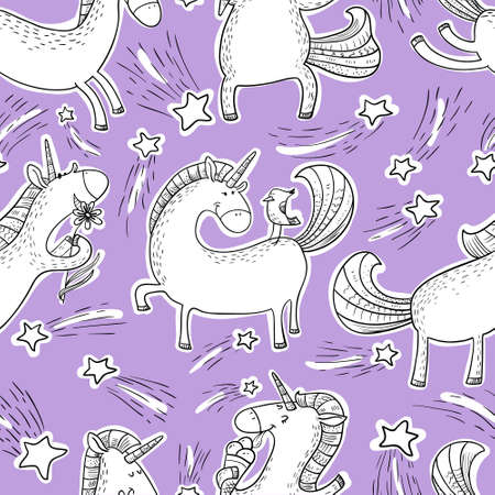 Magic unicorns background. Ilustrace