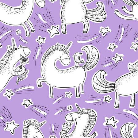 Magic unicorns background. Vectores