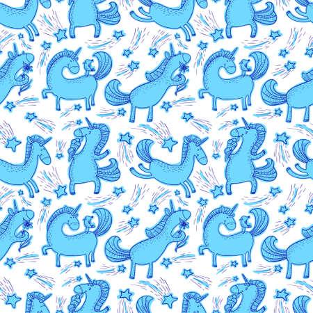 Magic unicorns background. Vettoriali