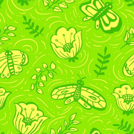 Floral seamless pattern with butterflies. Background with artistic hand drawn insects and flowers in doodle style. Illustration