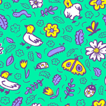 Seamless pattern with flowers and insects. Floral background with sketchy butterfly, dragonfly, tulips, leaves, ladybirds. Illustration