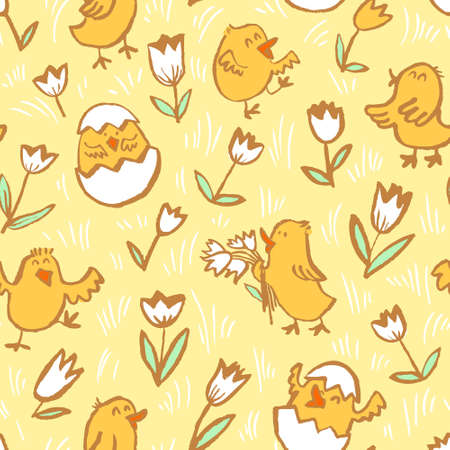 Easter background with chickens. Floral spring seamless pattern with Easter chick in egg and tulips. Vector illustration in doodle children style Stock Vector - 98843704