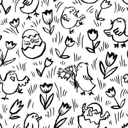 Easter background with chickens. Floral spring seamless pattern with Easter chick in egg and tulips. Vector illustration in doodle children style Stock Vector - 98843708