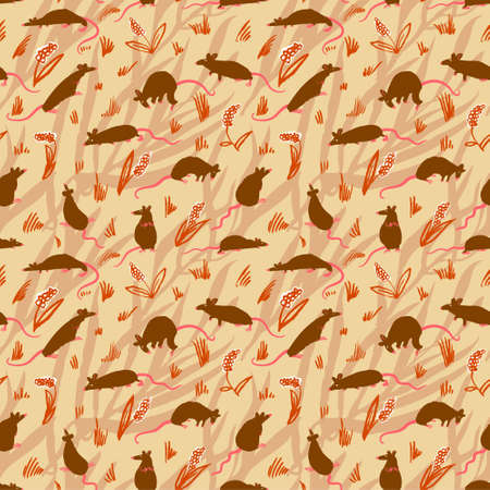 Seamless pattern with rats. Cute hand drawn background with cute rodents on the meadow. Artistic animals on floral backdrop. Vector illustration