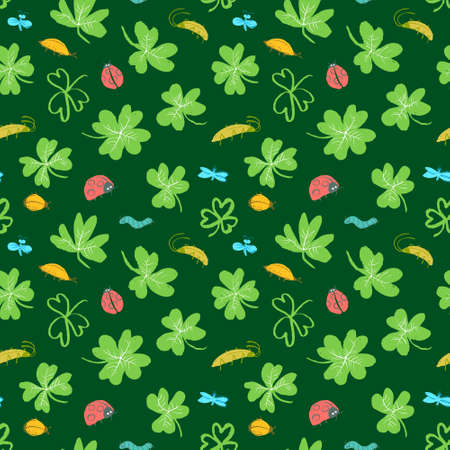 Background with clover leaves and insects. Seamless pattern with cute bugs, ladybirds, dragonfly, caterpillar. Vector illustration in doodle style. Design element for surfaces, textile, fabric and wrapping Ilustracja
