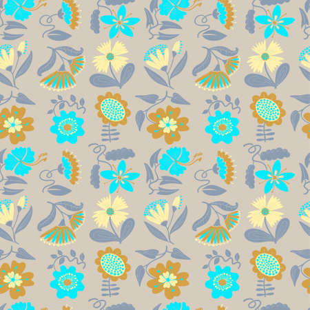 Floral seamless pattern. Background with abstract flowers and leaves.Vector illustration in minimalistic flat style. Design element for spring and summer seasonal backdrops, fabrics, wallpaper