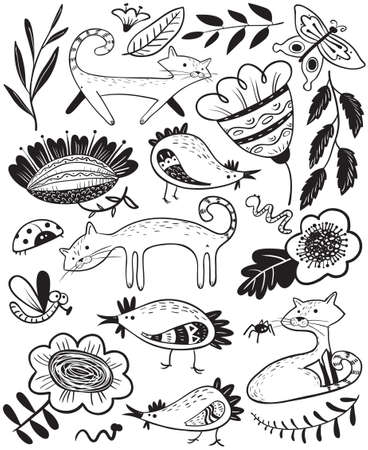 Cute set with cat and chiken. Floral summer collection with farm animals and insects. Vector illustration with abstract flowers in decorative style. Design elements and objects