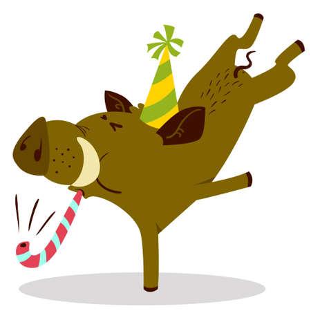 Lindo jabalí o personaje de jabalí celebrando el cumpleaños. Ilustración de vector con cerdo con cuerno de fiesta y sombrero. Habitante del bosque en estilo plano de dibujos animados. Personaje del horóscopo chino