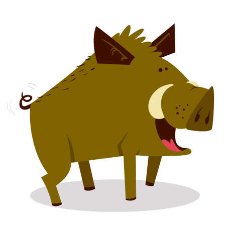 Cute boars or warthog character. Vector illustration with wild pig. Forest inhabitant in cartoon flat style. Chinese horoscope personage