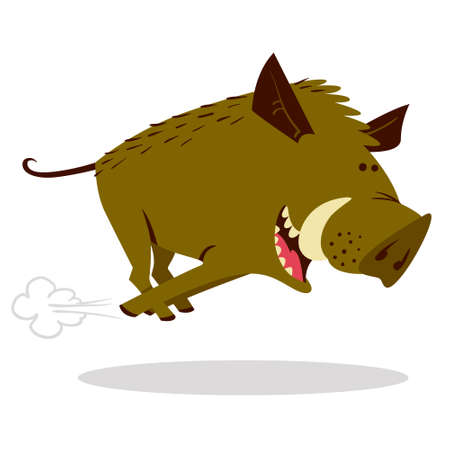 Cute boars or warthog character with acorn. Vector illustration with running wild pig. Forest inhabitant in cartoon flat style. Chinese horoscope personage Stock Illustratie