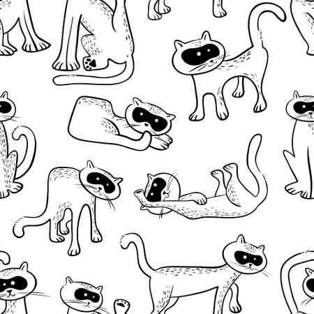 Seamless pattern with doodle cats. Background with funny domestic kitty in line art sketchy style. Vector illustration for design elements, backdrops, wallpapers and textile