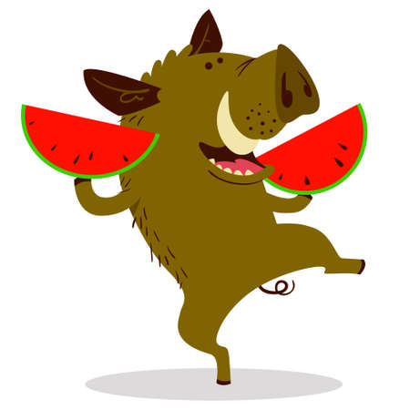 Cute boars or warthog character with slises of watermelon. Vector illustration with wild pig eating fruit. Forest inhabitant in cartoon flat style. Chinese horoscope personage