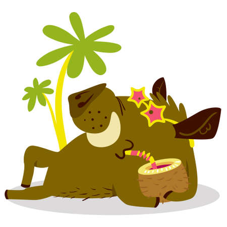 Cute boars or warthog character on relax in tropicat paradise. Vector illustration with wild pig with cocktail. Icon in cartoon flat style. Summer season theme. Chinese horoscope personage