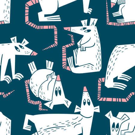 Modèle sans couture de rats et de souris. Arrière-plan avec des personnages mignons de rongeurs. Élément de design vectoriel pour textile, tissu, surfaces. Rats fantaisie pour animaux de compagnie colorés