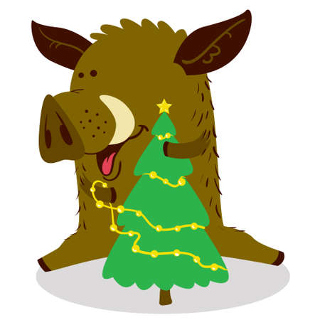 Cute boars or warthog character. Vector illustration with pig decorating Christmas tree by the gold garland. Forest inhabitant in cartoon flat style. Chinese horoscope personage