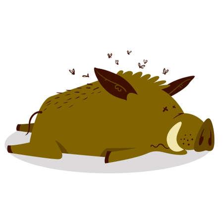 Lindos jabalíes o personaje de jabalí. Ilustración de vector con cerdo muerto o muy cansado. Habitante del bosque en estilo plano de dibujos animados. Personaje del horóscopo chino Ilustración de vector