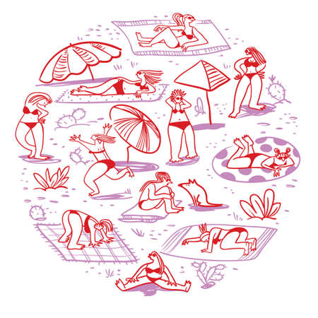 Set with summer  beach girls. Doodle  cute woman character sunbathing in different poses. Isolated female figures. Vector illustration in sketchy style. Landscape with people, cactus, umbrellas and sand