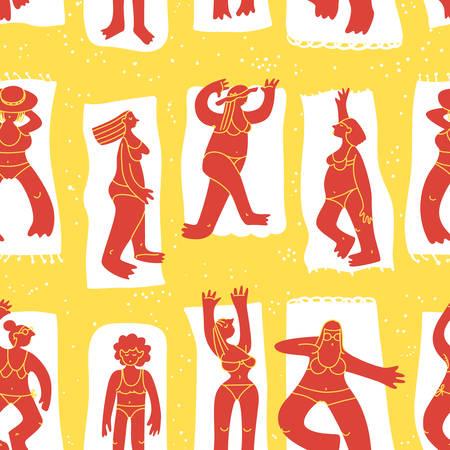 Fondo con chicas de playa de verano. Patrón sin fisuras con lindo personaje de mujer doodle tomando el sol. Figuras femeninas. Ilustración de vector de estilo esquemático para textiles, superficies, telones de fondo Ilustración de vector