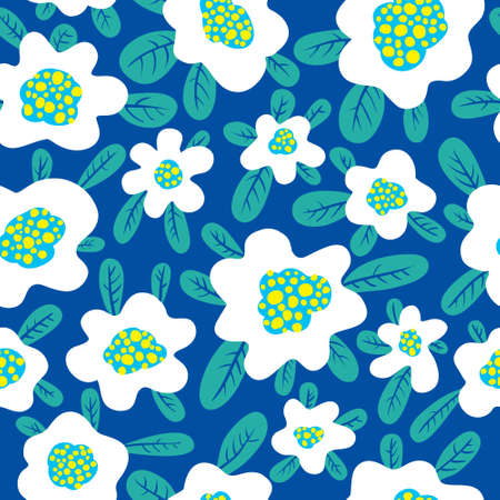 Floral seamless pattern. Background with cute abstract flowers and leaves. Vector illustration. Design for summer and spring surfaces, wallpapers and textile