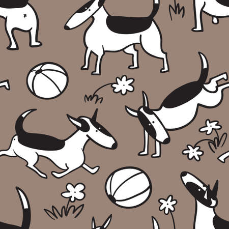 Bull terrier dogs seamless pattern. Background with pets character in doodle simple style. Vector illustration for fabric, textile, wrapping, other surfaces