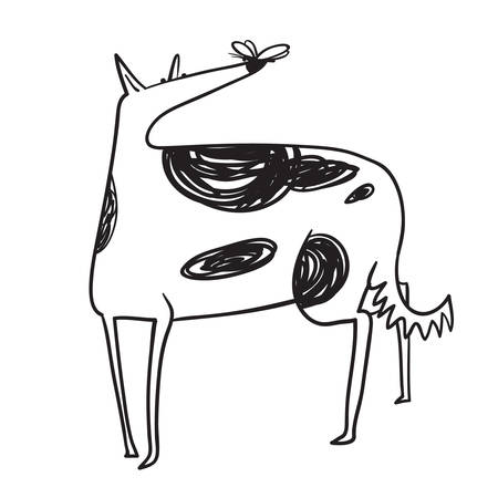Fat dog with butterfly. Cute borzoi pet. Vector illustration in  doodle sketchy line art style.
