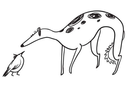 Hunting dog with bird. Russian borzoi breed. Wolfhound pet in sketchy doodle style. Vector illustration