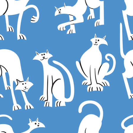 Seamless pattern with doodle cats. Background with  playing kitten in incomlete cute flat style. Vector line art  illustration for surface designs, wallpapers, textile and fabrics Иллюстрация